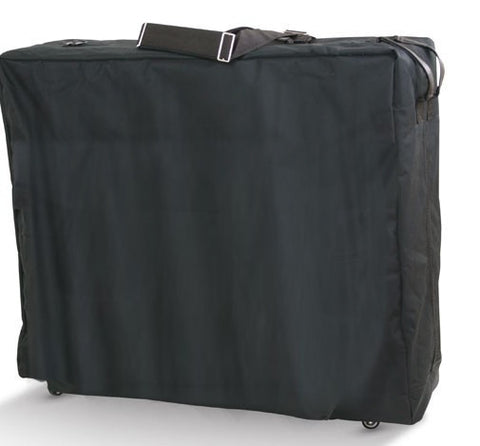 Black massage table carry bag with wheels and single pocket.