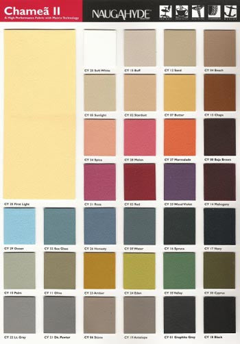 Color chart for Scala massage table