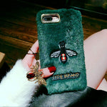 Plush embroidered bee apple 8plus mobile phone shell luxury female new xsmax Europe and the United States 7p tide brand 6s personality XR