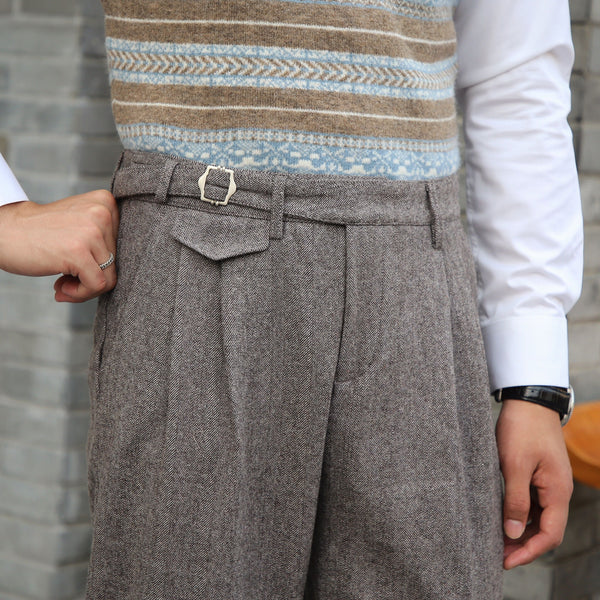 Herringbone patterned Gurkha Pants