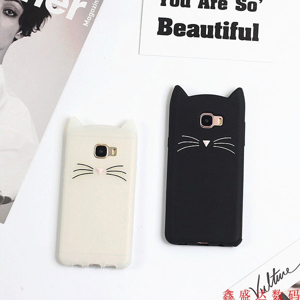 Cartoon cat phone case cover for Samsung J7 Prime, J5 Prime, A7, E7, J7S4, S3, A7, S5, J5, A7, E7, J7, A3, J2, A5, J2 Prime, J710, 7100