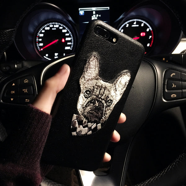 Leather Embroidered Dog Cartoon Case for Iphone 7plus/8plus, Iphone6, Iphone7/X, 6s.