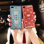 Embossed Peony Apple Phone Protective Shell Case for Iphone X, Iphone 8 Plus, Iphone 7plus, Iphone 6S