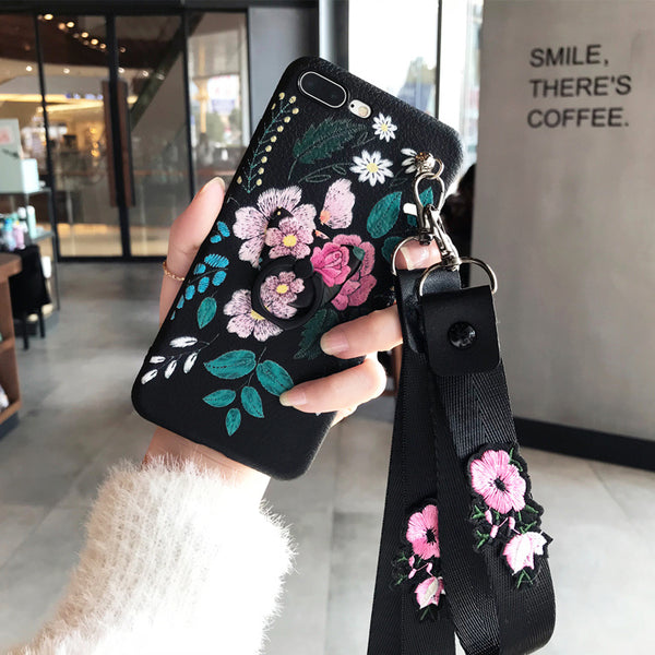 Vintage Flower Apple 7 Mobile Phone Shell, iPhone X, 6splus, | 8plus Silicone Sleeve Xsmax, Xr, With Vibrating Ring Bracket