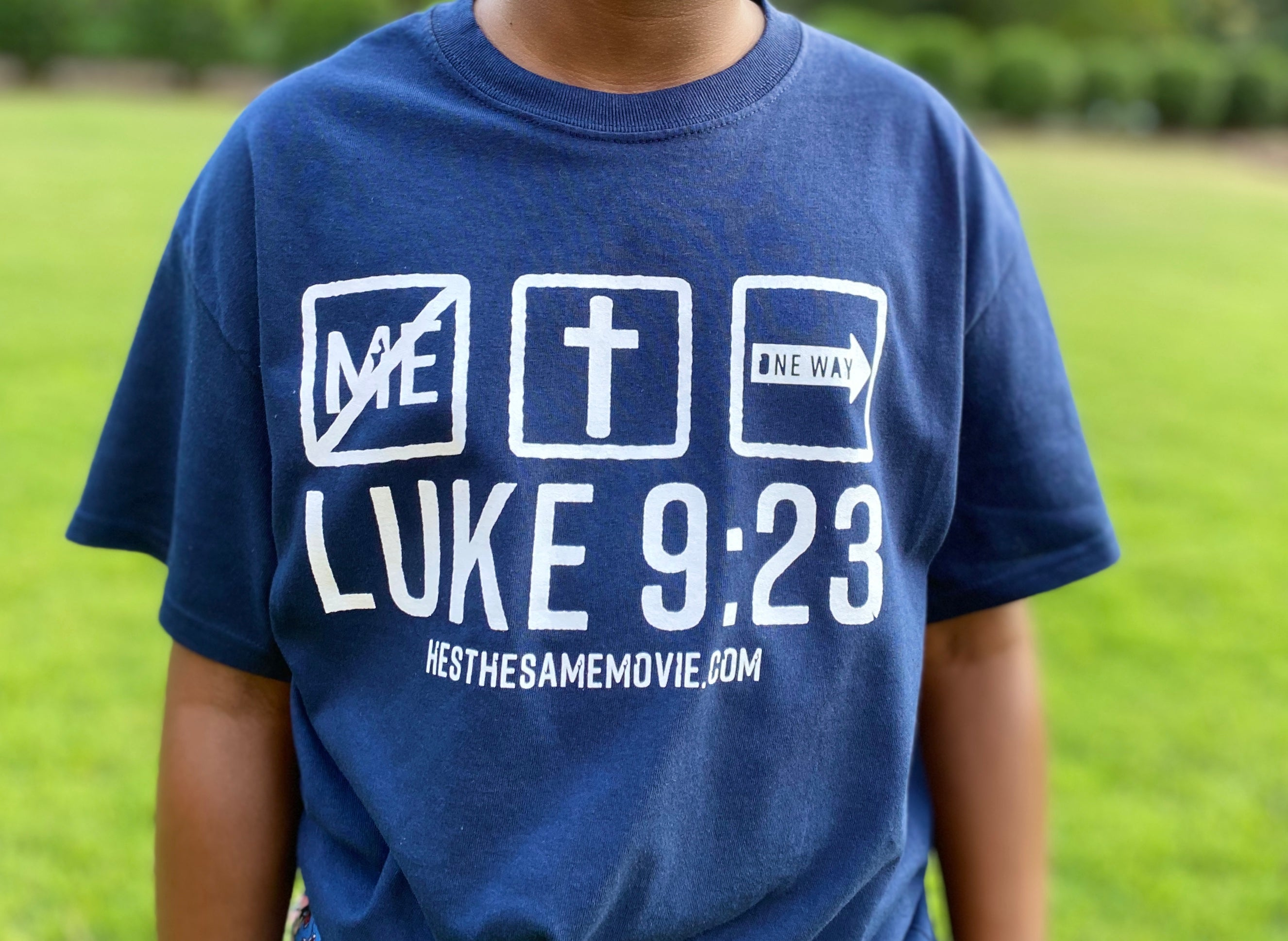 Luke 9:23 Blue Shirt