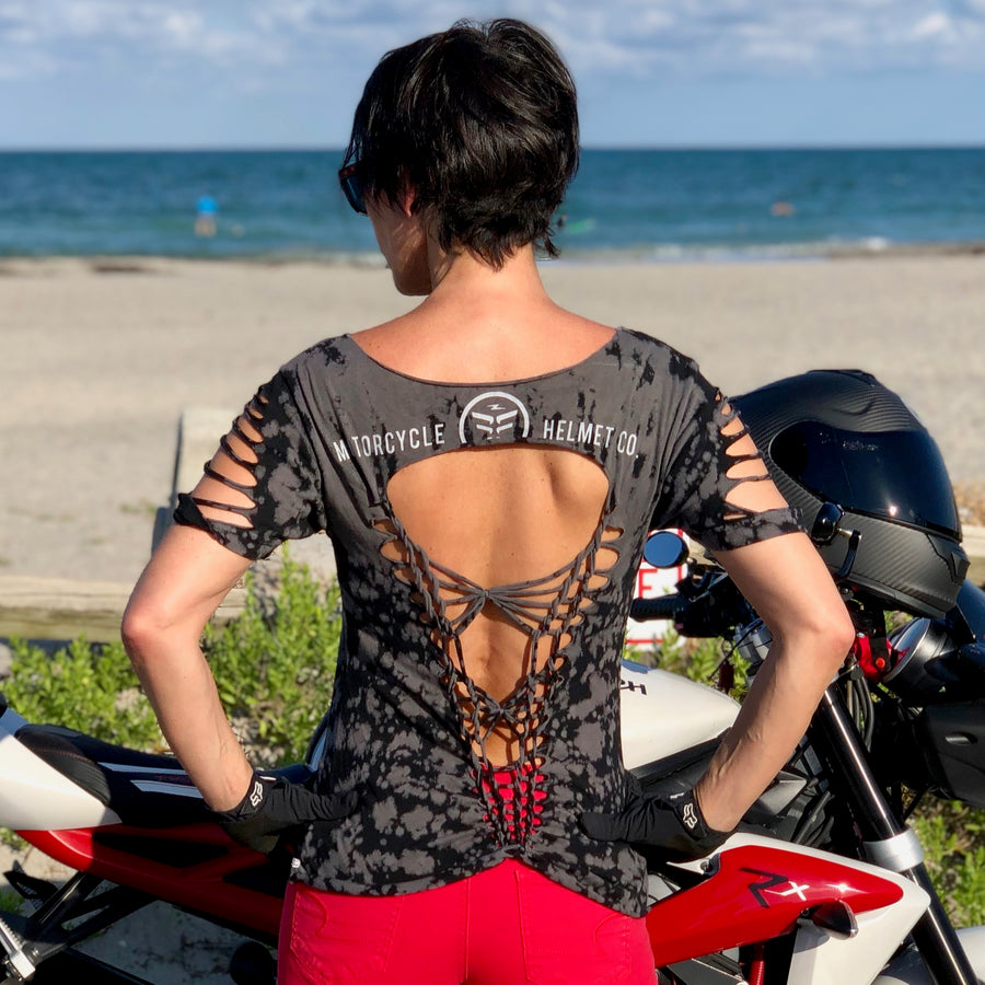 Famous Women's Custom Cut Moto Open Back T-Shirt