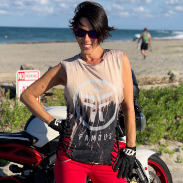 Famous Women's Custom Cut Moto T-Shirt