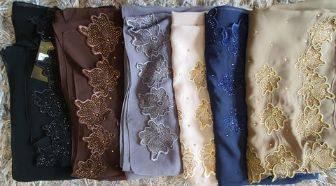 Square Tudung Cotton Chiffon Flora Bling