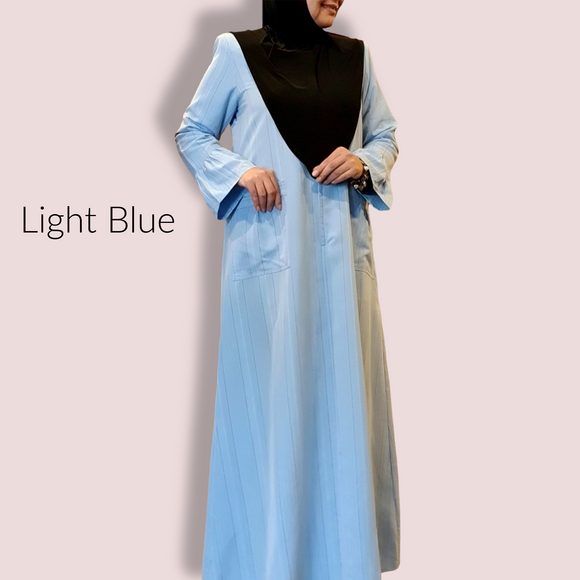 Jubah Ruffle Sleeve Stripes