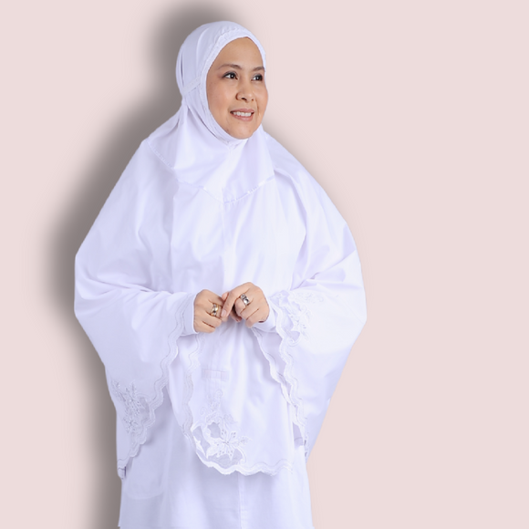 Telekung with Organza embroidery - long length