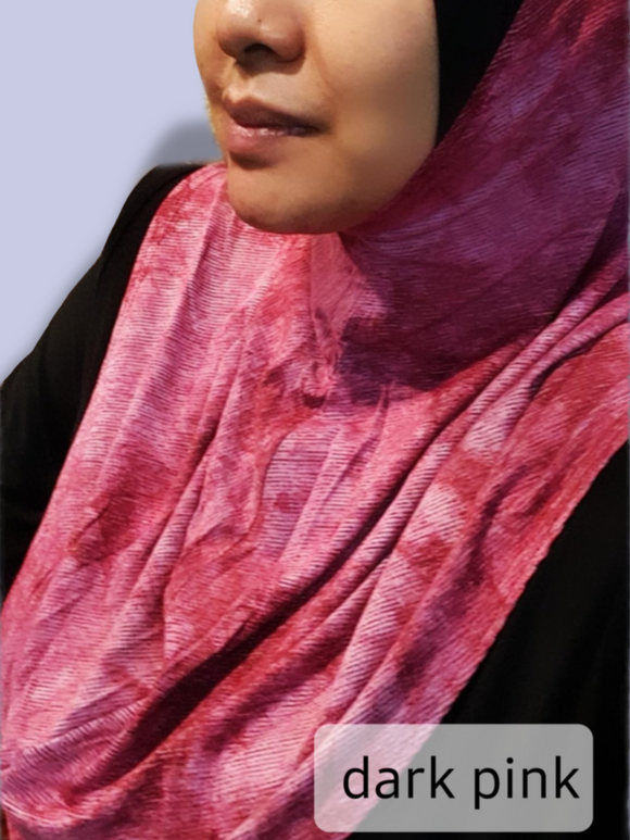 Tudung T Small Munawwarah - Cotton Tie Dye Denim