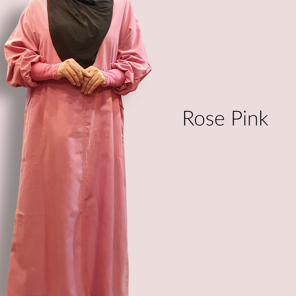 Cuffed Cotton Maxi - Rose Pink