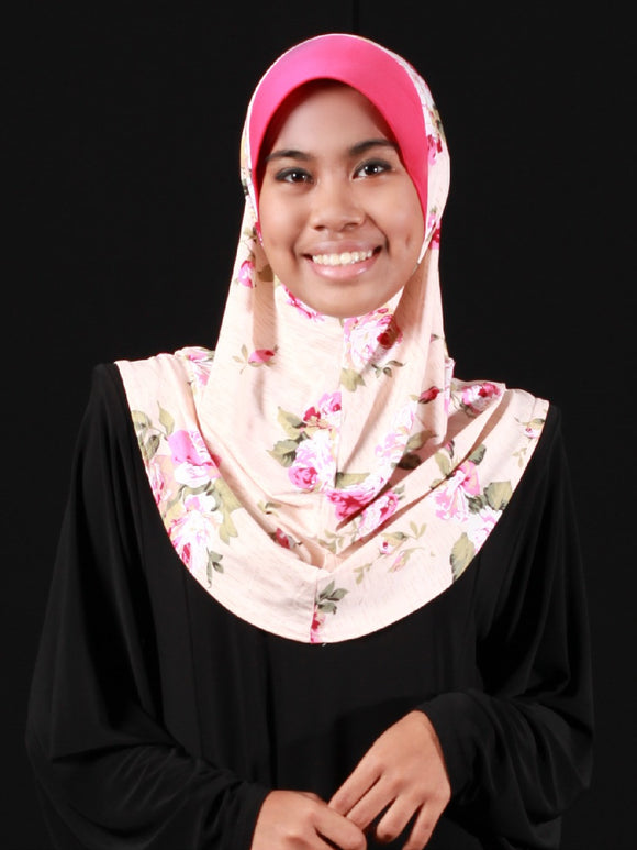 Tudung T Small Lycra ˜ Floral Roses