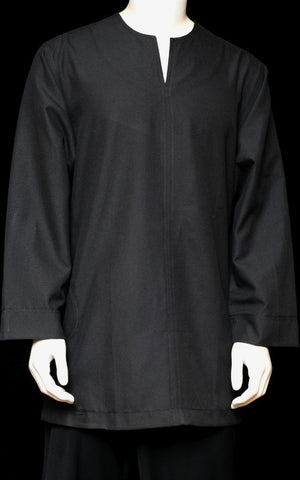 Men Baju Melayu Cotton Shirt ~ White/Black
