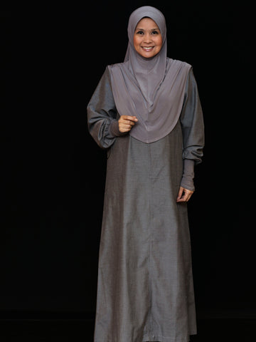 Cuffed Cotton Maxi - Dark Grey
