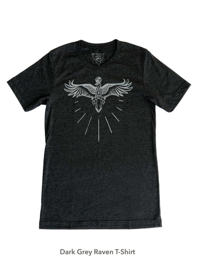 Egyptian Raven Graphic Tee - Black + Grey