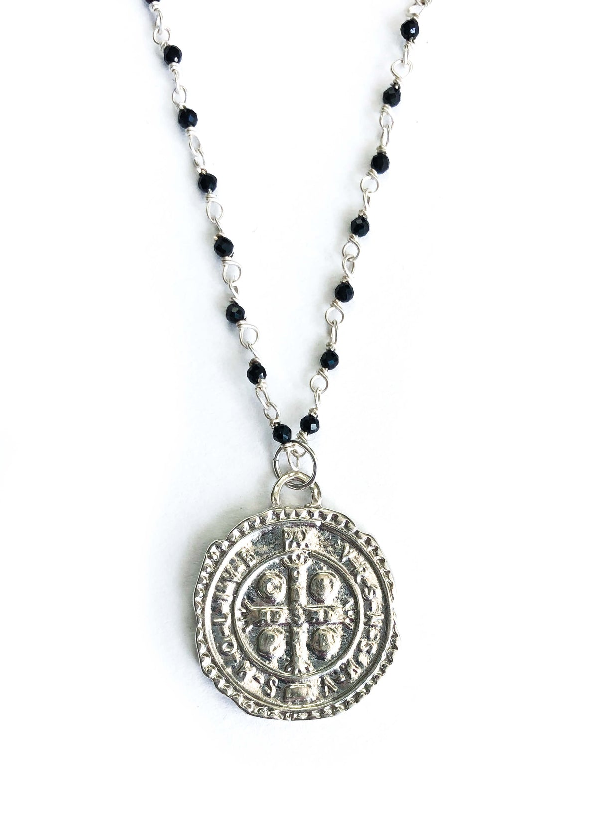 Sterling Silver Coin Medallion Necklace with Black Spinel Chain
