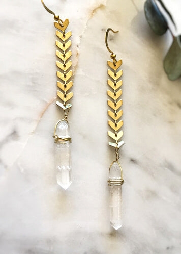 Quartz Crystal Chevron Earrings