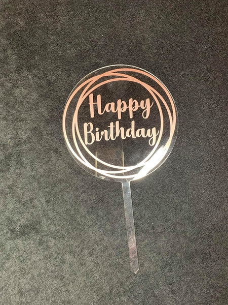 Customisable, Clear, Round Acrylic Cake Topper