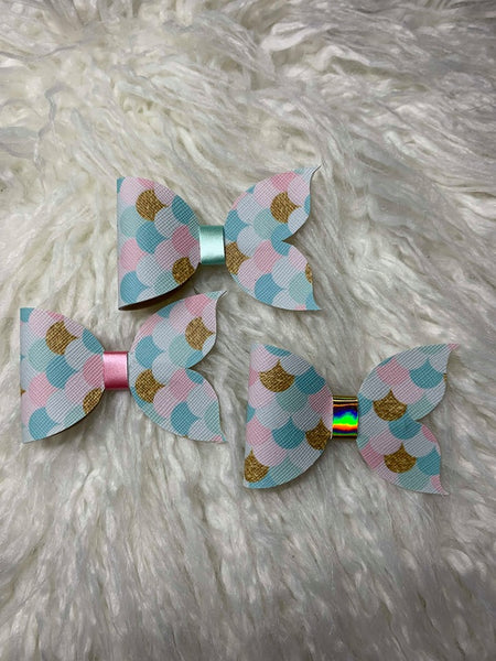 Mermaid Bow - Blue, Pink and Gold