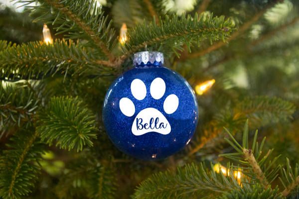 Personalised Pet Pawprint Glitter Baubles