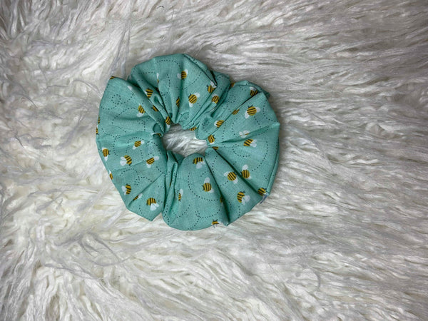 Blue Bees Scrunchie