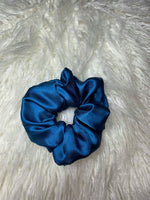 Dark Blue Silk Scrunchie