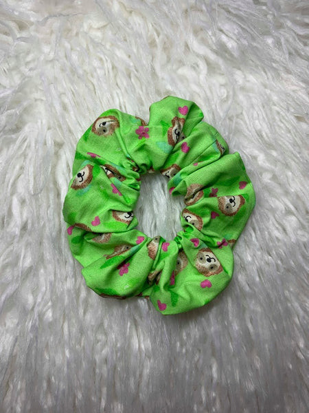 Green Sloth Scrunchie