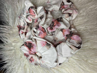 Pink and White Floral Scrunchie