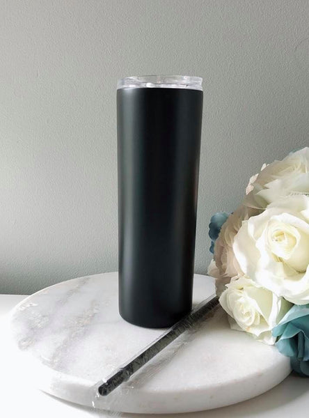 20oz Insulated Double Wall Stainless Steel Skinny Tumbler with Straw