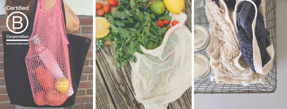 A woman with a coral rose string bag and a black tote over her shoulder, a natural colored mesh produce bag with vegetables peeking out, string bags and produce bags folded into a basket next to mason jars.
