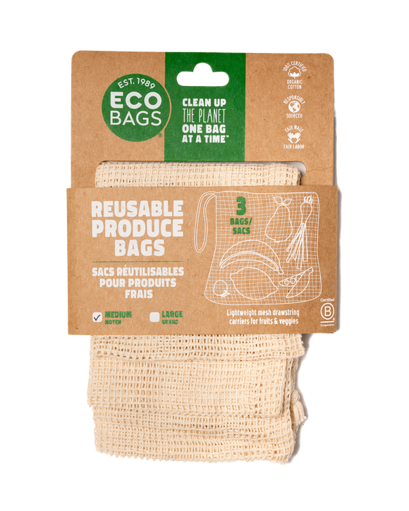 Set 3: 100% Certified Organic Mesh Produce Bag - Medium