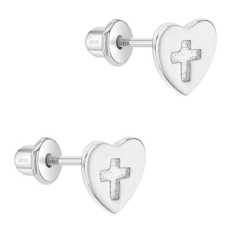 925 Sterling Silver Cross Heart Toddler & Young Girls Safety Screw Back Earrings
