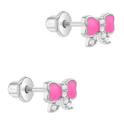 925 Sterling Silver CZ Pink Enamel Bow Screw Back Earrings for Toddlers & Little Girls