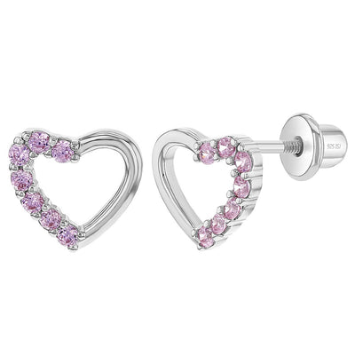 925 Sterling Silver Pink CZ Open Heart Screw Back Earrings for Toddlers & Young Girls