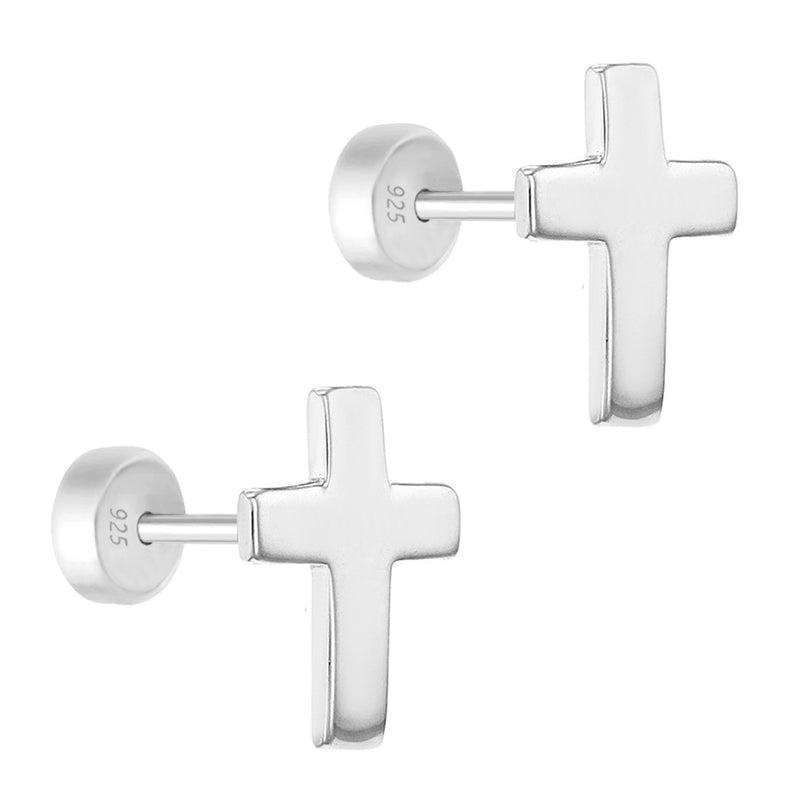 925 Sterling Silver Small Religious Plain Cross Safety Push Back Earrings Girls