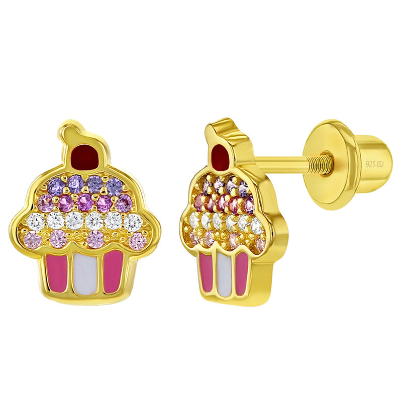 925 Sterling Silver Gold Plated Enamel Multicolor CZ Cupcake Screw Back Earrings for Girls