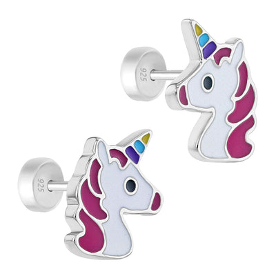 925 Sterling Silver Multicolor Unicorn Earrings Push Back Safety Stud for Girls