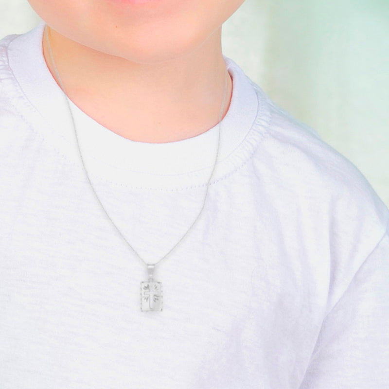 925 Sterling Silver Cutout Cross Medal Pendant Necklace Baby Children 16""
