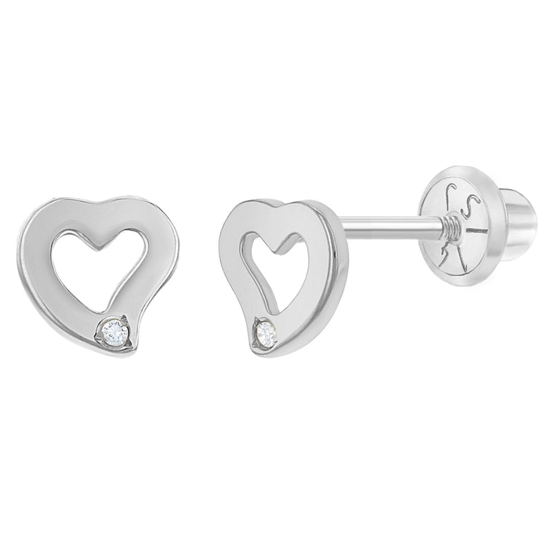 14k White Gold Girls 5mm Diamond Accent Curve Heart Screw Back Earring Studs
