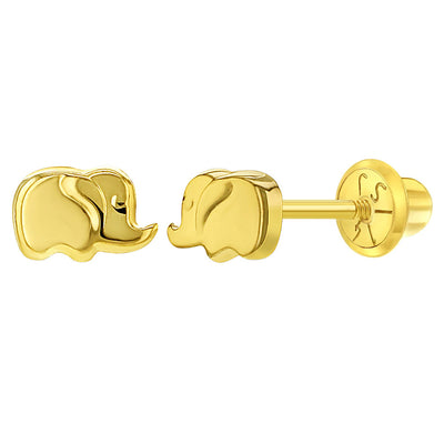 14k Yellow Gold Lucky Elephant Screw Back Earrings For Toddler & Little Girls