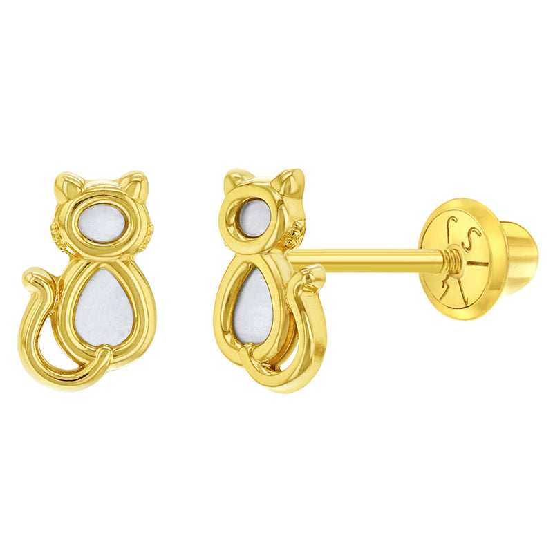 14k Yellow Gold Mother of Pearl Small Cat Screw Back Earrings for Young Girls, Kitten Stud