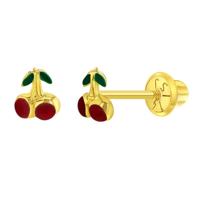 14k Yellow Gold 4mm Red Cherry Girl's Screw Back Earrings for Babies to Toddlers