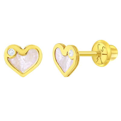 14k Yellow Gold Clear Cubic Zirconia & Mother Pearl Heart Screw Backs Earrings for Girls