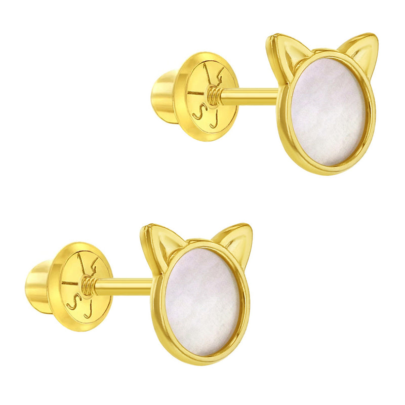 14k Yellow Gold Little Mother Pearl Kitty Cat Screw Back Earrings for Young Girls & Preteens