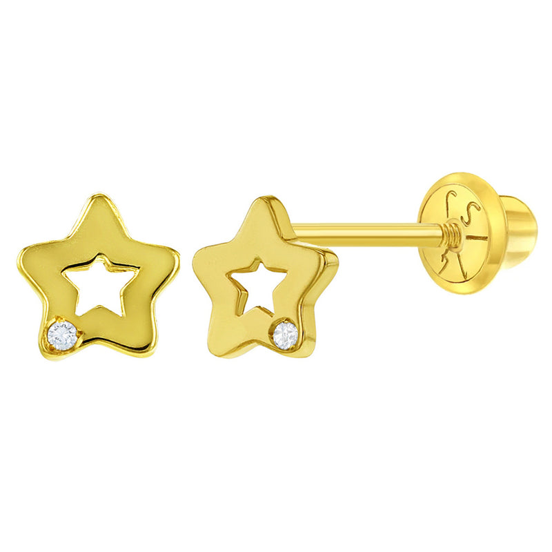 14k Yellow Gold 5mm Small Open Star Diamond Accent Screw Back Earrings for Girls - Tiny Star Studs