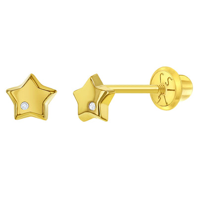 14k Yellow Gold Girl's 5mm Small Diamond Accent Polish Star Screw Back Earrings - Cute Star Studs