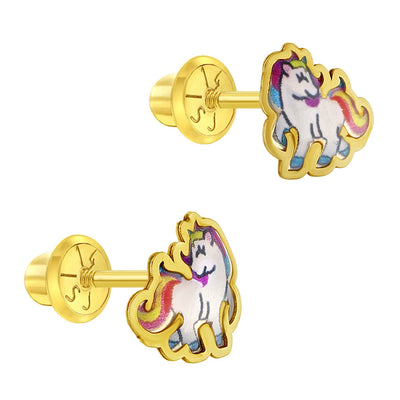 14k Yellow Gold Hand Painted Rainbow Enamel Unicorn Screw Back Earring for Girls - Colorful Studs