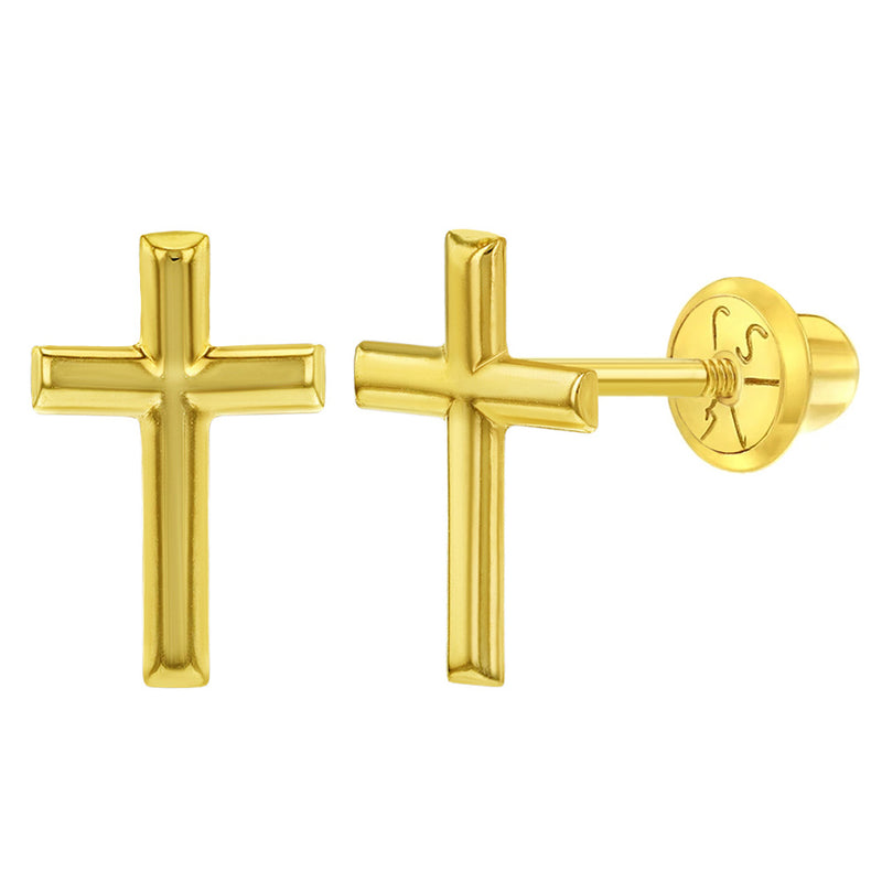 14k Yellow Gold Classic Cross Screw Back Earrings for Toddlers & Young Girls