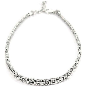 "S U R A 925 Sterling Silver Bali 18"" Graduated Byzantine Necklace."